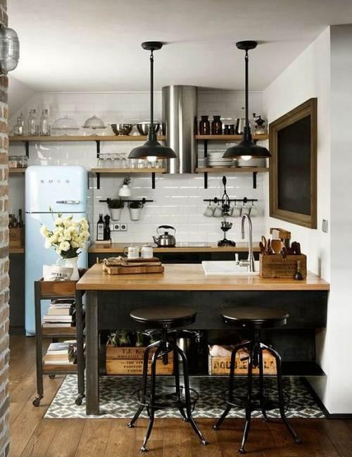 Desain dapur kecil industrial