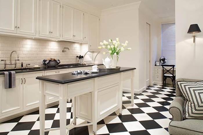 Desain dapur hitam putih