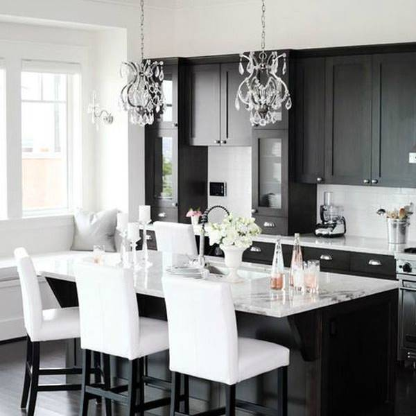 Desain Dapur Hitam Putih Monokrom